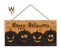 Happy Halloween Sign, Rustic Spooky Pumpkins Sign, Holiday Rustic 5x10 W... - $11.39
