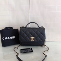 AUTHENTIC CHANEL BLACK QUILTED CAVIAR LEATHER 2 WAY TOP HANDLE MESSENGER BAG GHW