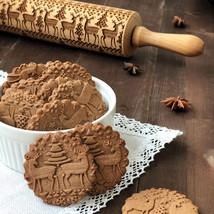 Flower Wooden Rolling Pin Embossing Baking Cookies Biscuit Fondant Chris... - $13.94 CAD
