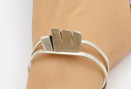925 Sterling Silver - Vintage Modernist Designed Split Cuff Bracelet - B... - $75.93
