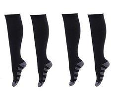 2 Pair Black/Gray-Stripes Lg/XL TASOM Graduated Compression Socks Below ... - £14.31 GBP