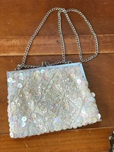 Vintage Hand Beaded Cream Sequin & Tiny Beads Small Evening Purse with C... - $8.59