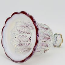 Fenton Art Glass Ruby Crest French Opal Hand Painted Carnival Bell - 1990s. image 3