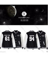 KPOP EXO Baseball Uniform Jumper Chanyeol Varsity Jacket Outwear Baekhyu... - $11.69