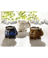 3 Elephant Oil Warmers in Assorted Colors of Blue, White, Brown - $21.45