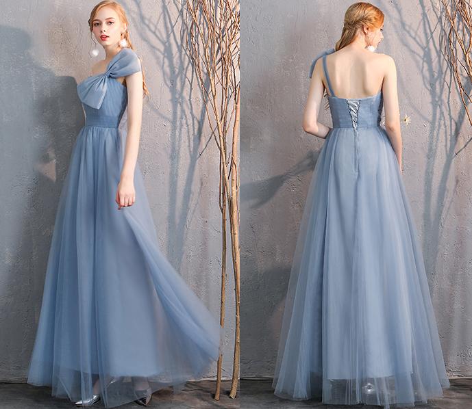 Bridesmaid tulle dress dusty blue 19