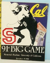 1988 Cal Bears v Stanford Cardinals 91st Big Game College Football Progr... - $8.90