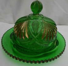 Heisey Glass Pineapple & Fan Covered Butter Dish Green Gold Eapg Antique 1898 - $109.39