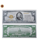 WR 1928 Silver Certificate US $50 Fifty Dollar Colored Silver Foil Bankn... - $3.00