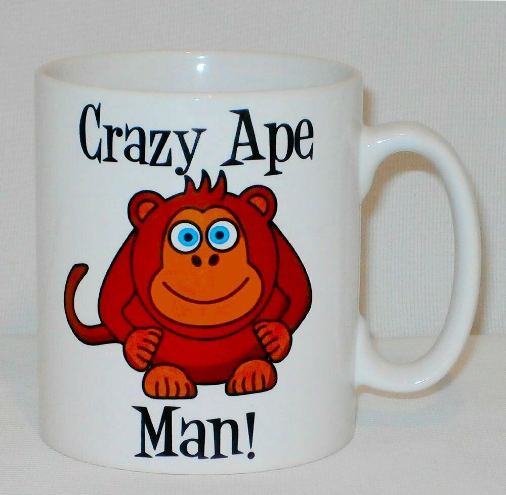 Crazy Ape Man Mug Can Personalise Funny Animal Lover Zoo Keeper Vet Monkey Gift