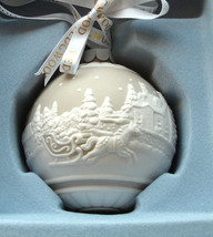 Wedgwood SLEIGH RIDE Ball Ornament Porcelain Taupe/Tan & White Relief New - $34.90