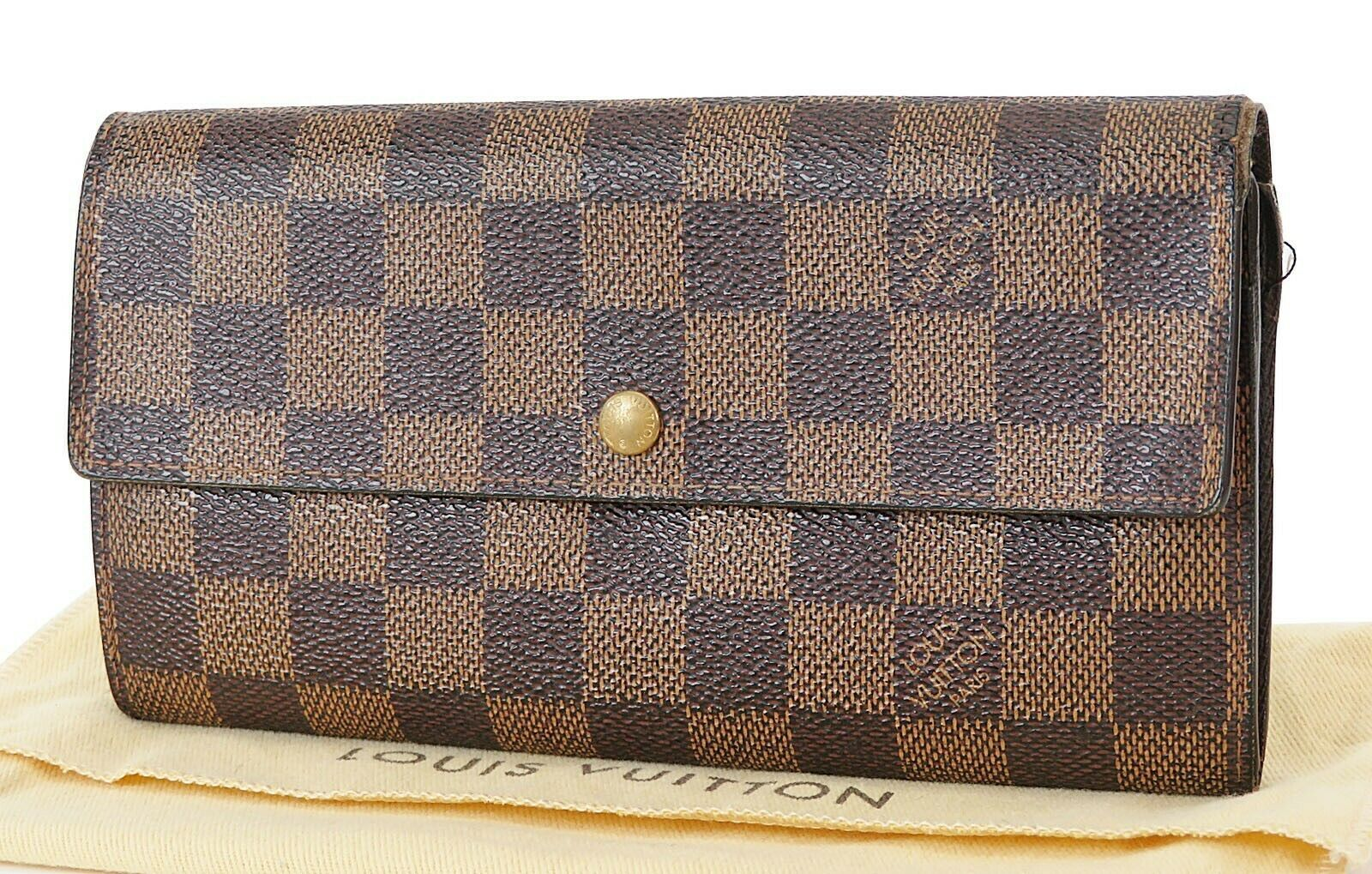 Primary image for Auth LOUIS VUITTON Sarah Long Wallet Damier Ebene Zippered Coin Purse #37515