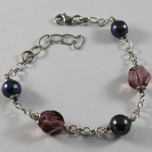 .925 RHODIUM SILVER BRACELET WITH FRESHWATER PEARL GRAY AND PURPLE CRISTALS image 1