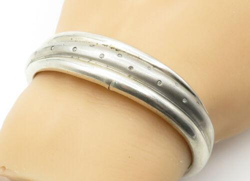 925 Sterling Silver - Vintage Genuine Diamond Dotted Ribbed Cuff Bracelet- B6308