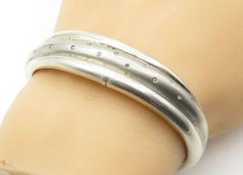 925 Sterling Silver - Vintage Genuine Diamond Dotted Ribbed Cuff Bracelet- B6308 image 1