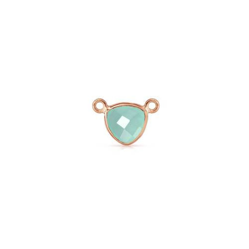 Primary image for Bezel, Chalcedony Triangle, Rose Gold Plated Sterling Silver, 10mm, 1Pc (9508)/1