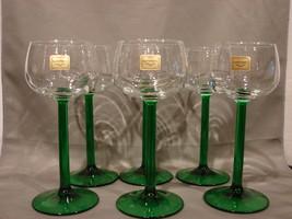 Set of 6 Luminarc Emerald Green Stem Wine Glasses - $18.99