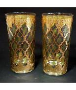 2 (Two) VTG CULVER GLASS VALENCIA 12 oz Highball Glasses with 24K Trim - $31.34