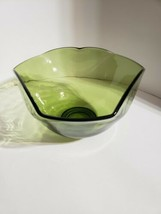 Vintage Avocado Green Glass Mid-Century Modern Style Bowl - $10.89
