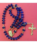 Catholic Rosary Rosenkranz Genuine Faceted Sapphires & Vermeil - $311.85
