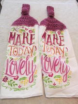 Crocheted Top Lightweight Linen Hanging Kitchen Towels Make Today Lovely - $9.00