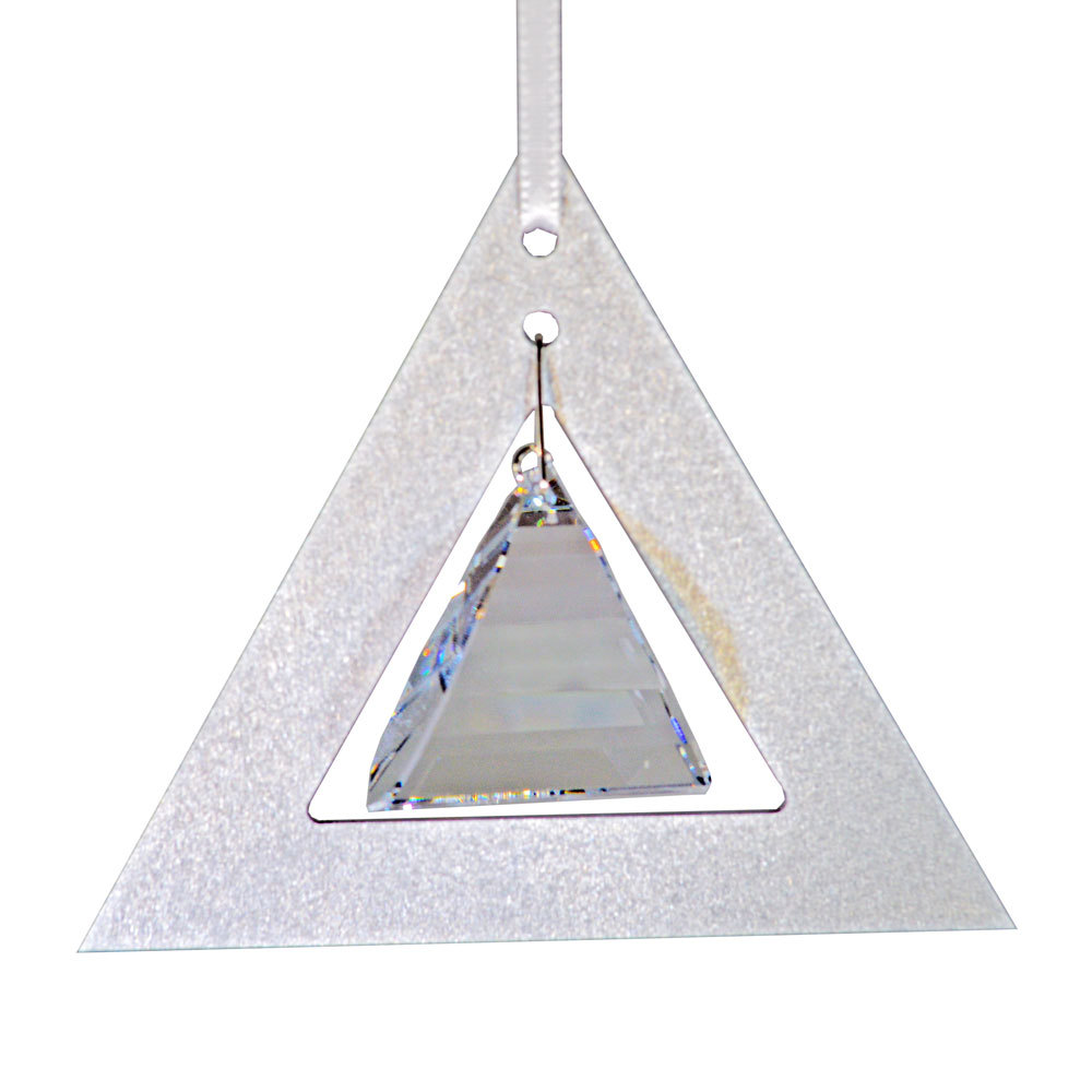 Aluminum and Crystal Triangle Ornament  Pyramid Drop