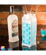 BOTTLE COOLER TRANSPARENT ICE CUBE FUNNY COOLER BAG COLD DRINKS SILICONE... - $6.29