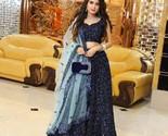 New Blue lehenga choli party wear bridal weddinng bollywood designer indian      - $55.49
