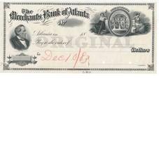 Merchants Bank of Atlanta, check proof on india, American Bank Note Co. ... - $99.00