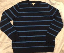 NEW SONOMA Life + Style Men's Blue Striped Sweater Sz XL Soft! Free Shipping - $17.99