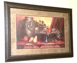 Vintage Wooden Framed & Matted Print Center Piece Of Fruit On A Table Ho... - $173.25