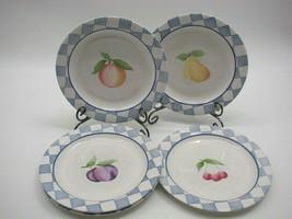 "Pfaltzgraff Hopscotch Dinner Plates 10-3/8"" Set of 5 White Blue Checks w/Fruit - $29.40"