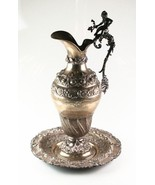 Antique Art Nouveau Cherub Repousse Silver Water Pitcher and Platter - $8,316.00
