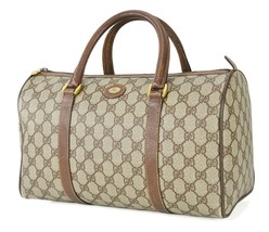 Authentic GUCCI Brown GG Canvas and Leather Boston Hand Bag #34293 - $265.50