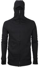 vkwear Men's Zip Up Cotton Slim Fit Thumbholes Ninja Turtleneck Hoodie Jacket