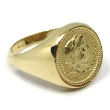 SOLID 18K YELLOW GOLD BAND RING, ROMAN COIN, ROMAN EMPEROR, MADE IN ITALY image 2