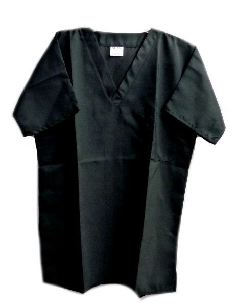 Primary image for Black V Neck One Pocket SM On Qor Polyester Microfibre Scrub Top Unisex New