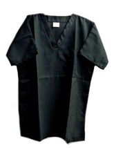 Black V Neck One Pocket SM On Qor Polyester Microfibre Scrub Top Unisex New - $19.37
