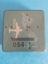 Authentic Fossil 054 Tin Box with Airplane and Travel Design - TIN ONLY - $18.70