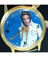 ELVIS PRESLEY WATCH 1977 unique time wristwatch face boxcar blue gold vi... - $63.36