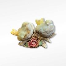 Vintage Glazed Ceramic Birds On A Branch Figurine Love Birds Pair - $25.73