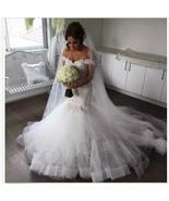 Elegant  White Lace Wedding Dresses Appliqued Mermaid Bridal Gowns  Tull... - $180.00