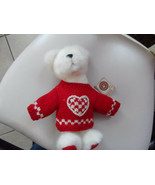 "White Boyds bear wearing red valentine sweater 10"" - $9.75"