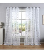 Kotile Solid White Sheer Curtains with Silver Moroccan Tile Design - Gro... - $24.95