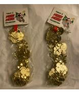 2 RARE-VTG Disney MERRY Mickey Head Heart 8.5' Garlands Gold Plastic *BR... - $90.99