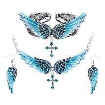 Women's Angel Wing Cross Necklace Earrings Bracelet Set image 12