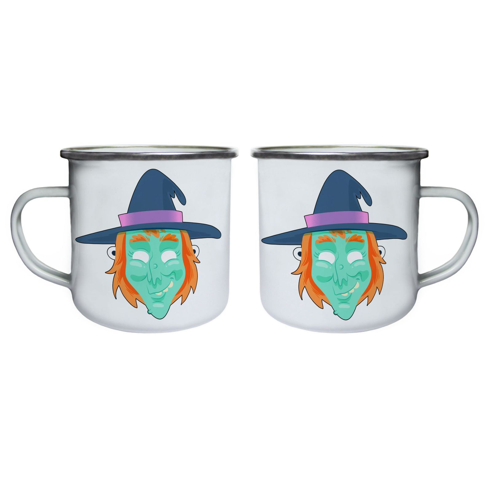 Funny Scary Witch Mask Retro,Tin, Enamel 10oz Mug r574e