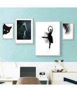 Abstract Leaf Canvas Painting Cat Nordic Poster Home Decor Canvas Print ... - $5.99+