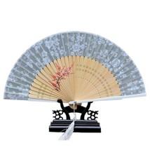 Cotton Cloth Folding Fan Woman      grey - $10.44