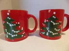 Vintage (2) Red Christmas Tree Waechtersbach W. Germany Mugs - $22.76